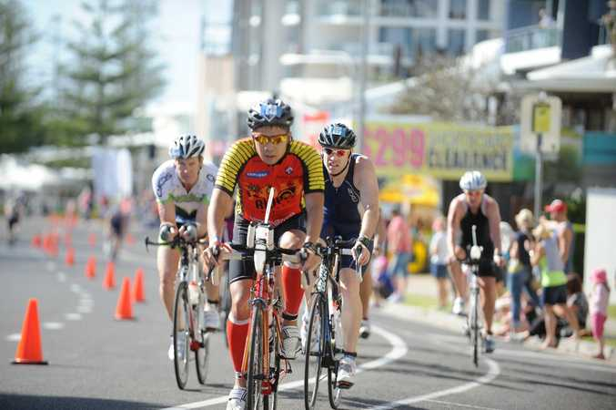 Ironman 70.3 Sunshine Coast 14th September 2014.. Competitors in the bike leg.