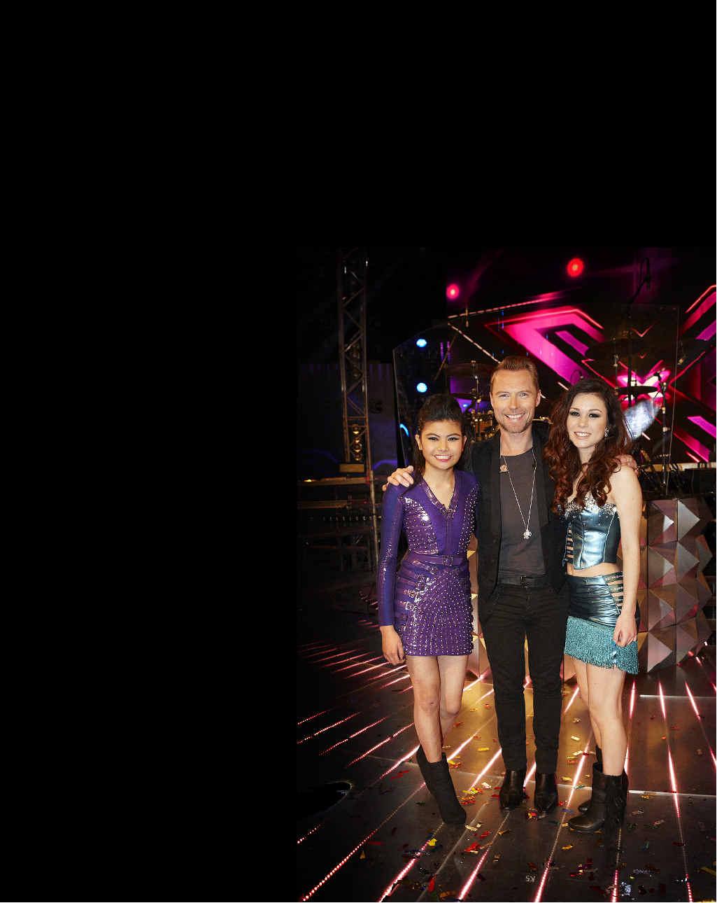 Ronan's girls: Marlisa Punzalan and Caitlyn Shadbolt with Ronan Keating
