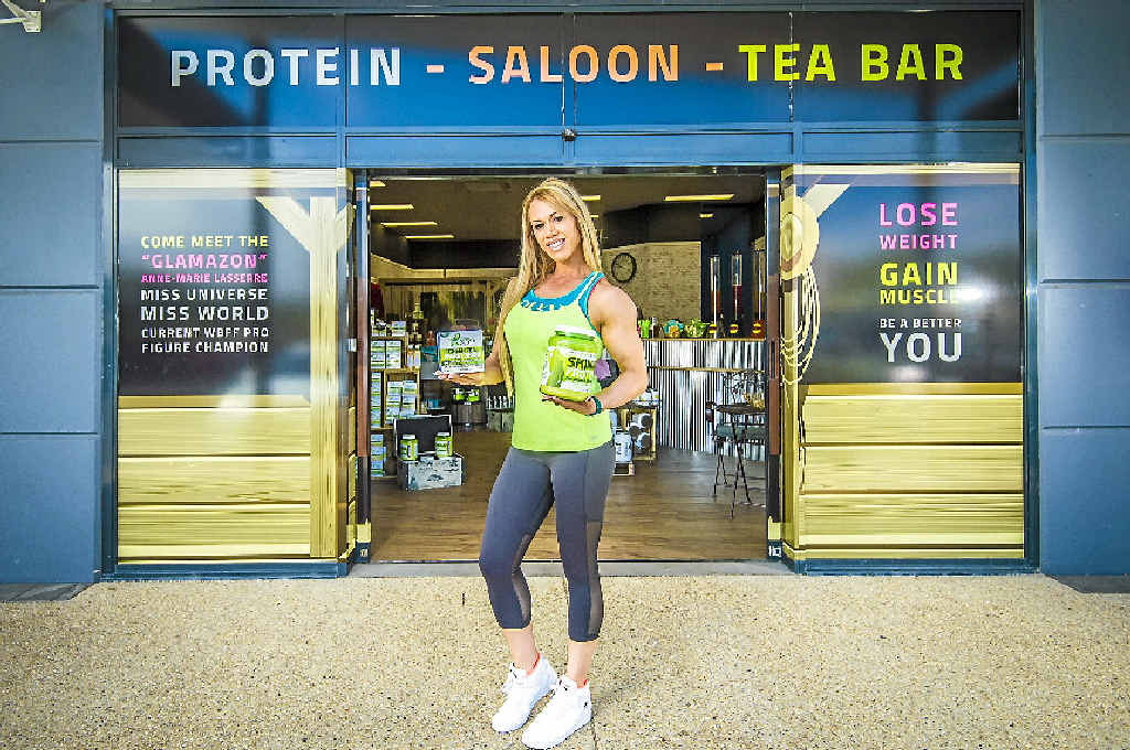 GRAND OPENING: Saloon Protein and Tea Bar co-owner Anne-Marie Lasserre with her own Green Tea X50 protein creation.
