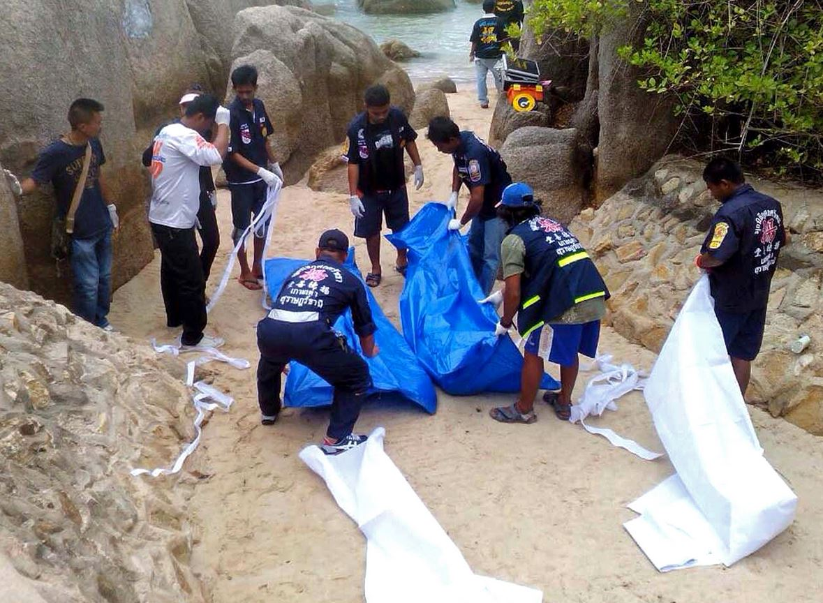 Bodies of a man and a woman are found with gruesome injuries after beach party