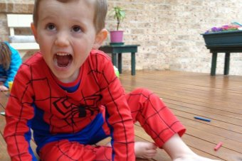 Young William in his Spiderman costume