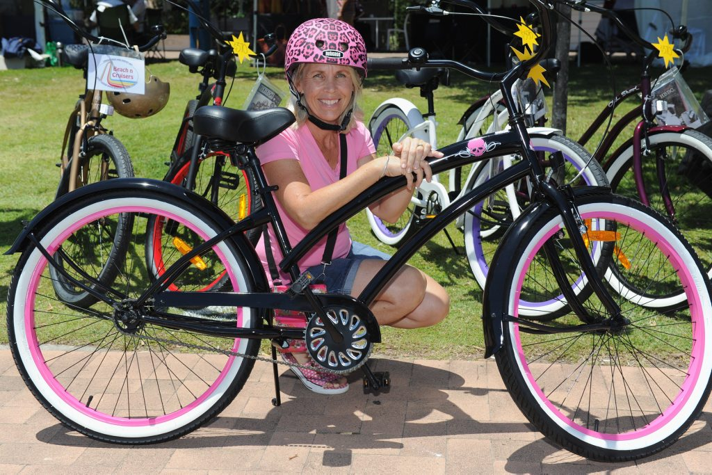 GET ACTIVE: The kids can get active in the Race in the Bay. Michelle Lennard (pictured) with one of her Beach n Cruisers bikes.