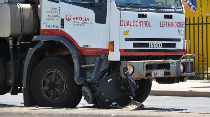 Man in motorised wheel chair hit by truck on Gordon Street, Mackay. Photo Peter Holt / Daily Mercury