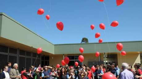 Students at Clifford Park Special School release balloons in memory of teacher Holly Parsons. Photo Nick Houghton / The Chronicle