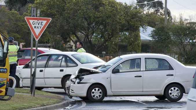 A two-vehicle crash in O'Quinn St, Toowoomba.