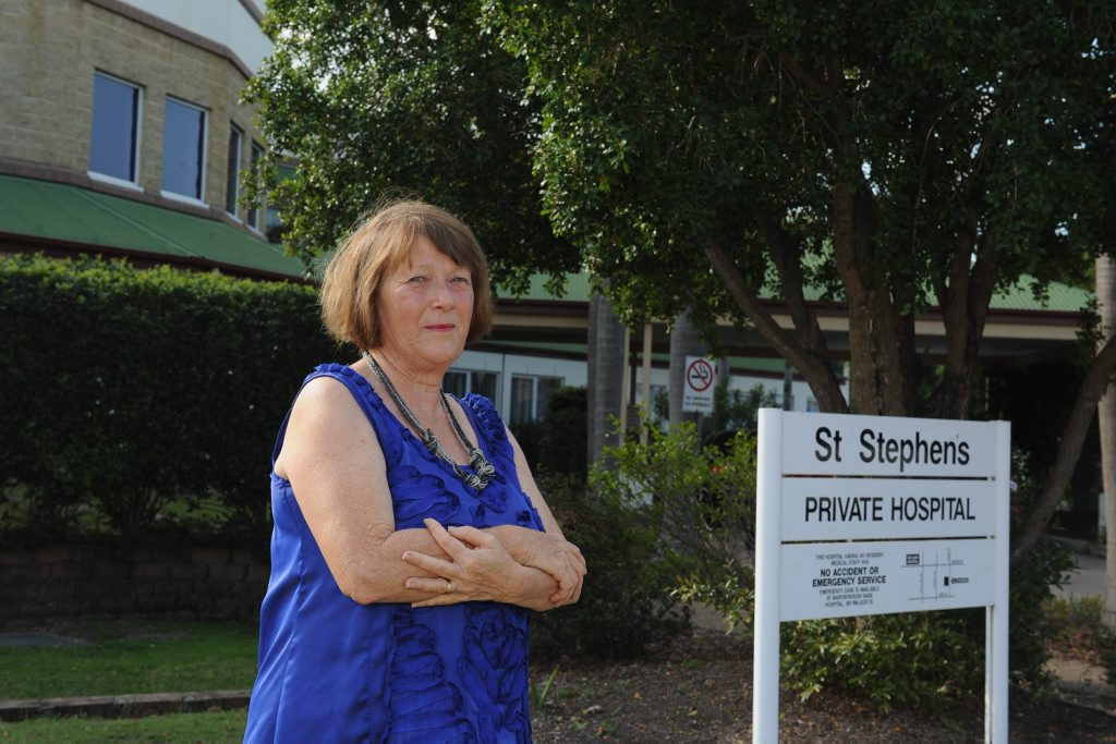 Nan Ott outside St Stephens Private Hospital in Maryborough which is closing on October 13.
