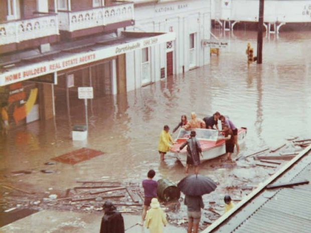 DEVASTATION: The main street of Ipswich during the 1974 flood with East St in the background.