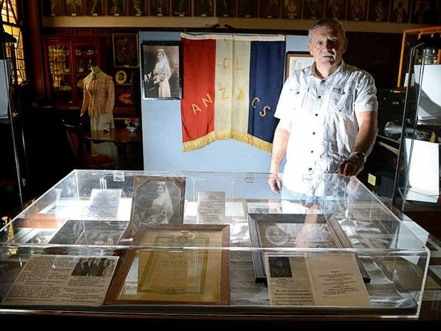 DIGGING DEEP: Ted Trudgeon with the Richmond River Historical Society Anzac display.