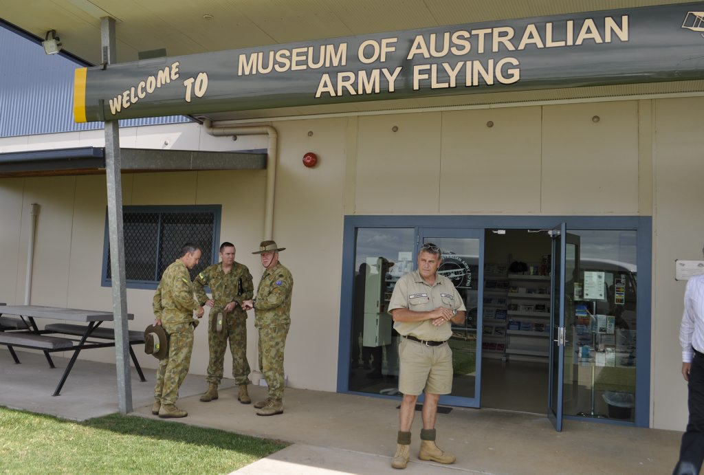 Oakey Army Base soldiers outside the entrance of the Museum of Australian Army Flying. Photo: Gen Kennedy / Dalby Herald