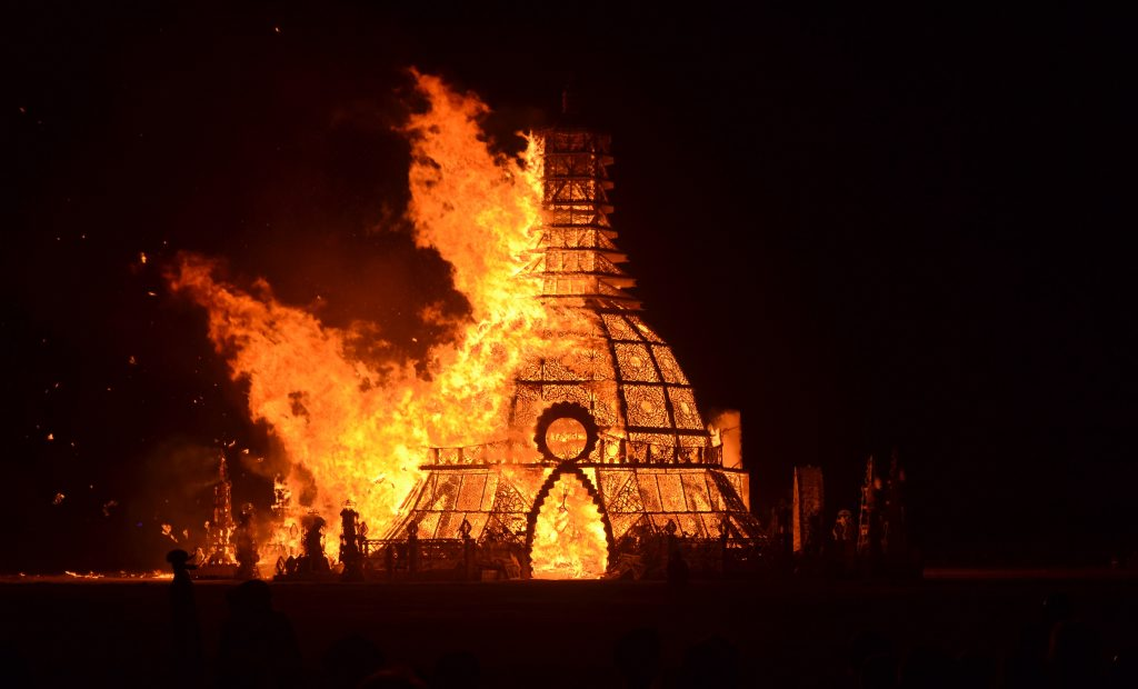 The Temple Burn at the Burning Man Festival in Nevada's Black Rock Desert.