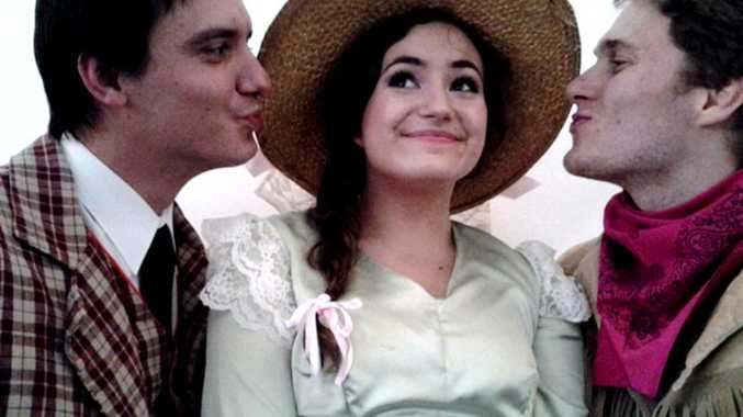 Thomas Warr as Ali Hakim, Courtney Monsma as Ado Annie and Hayden Bech as Will Parker in the upcoming Tweed Heads production of Oklahoma.