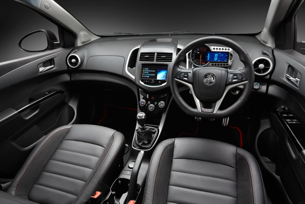 Inside the Holden Barina RS.
