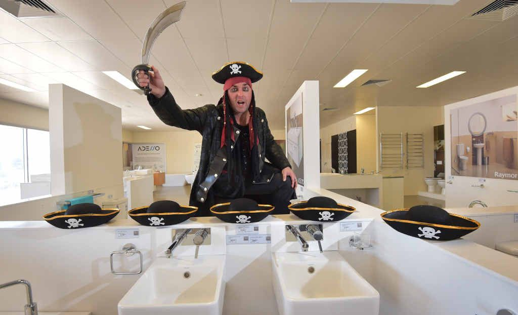 OH ARRRRRR: Grant O'Brien, aka Captain Jack Sparrow, will be greeting customers at Tradelink Plumbing Centre at Kunda Park today because it is Talk Like a Pirate Day, which is raising money for Make-a-Wish Foundation.