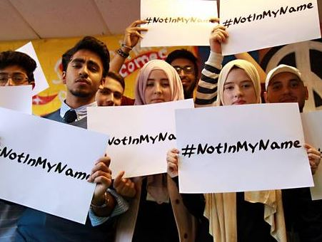 In 2014, Muslim men and women internationally condemned the actions of ISIS under the banner of 'Not in my name'