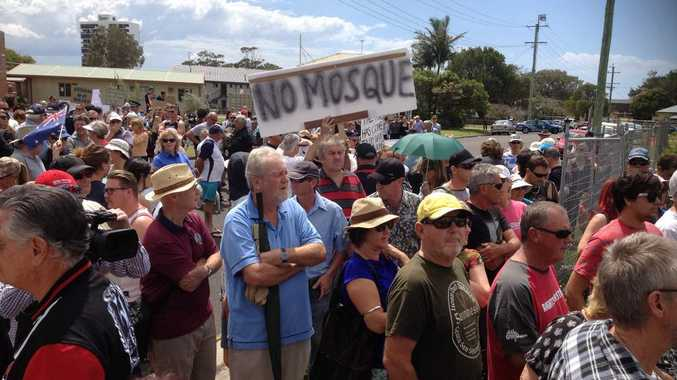 Scenes from a Sunshine Coast mosque protest meeting in September last year.