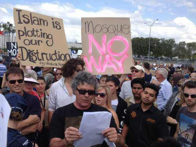 The Maroochydore mosque protest in September 2014.