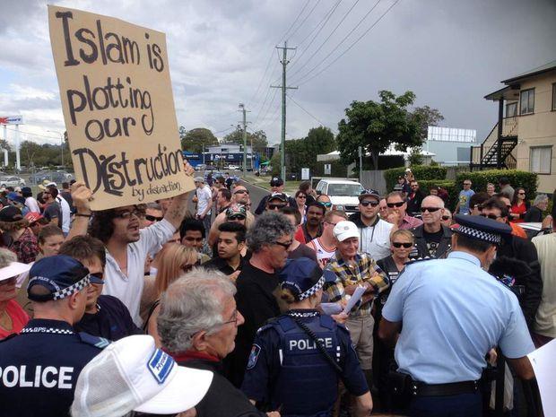 Maroochydore mosque protest.