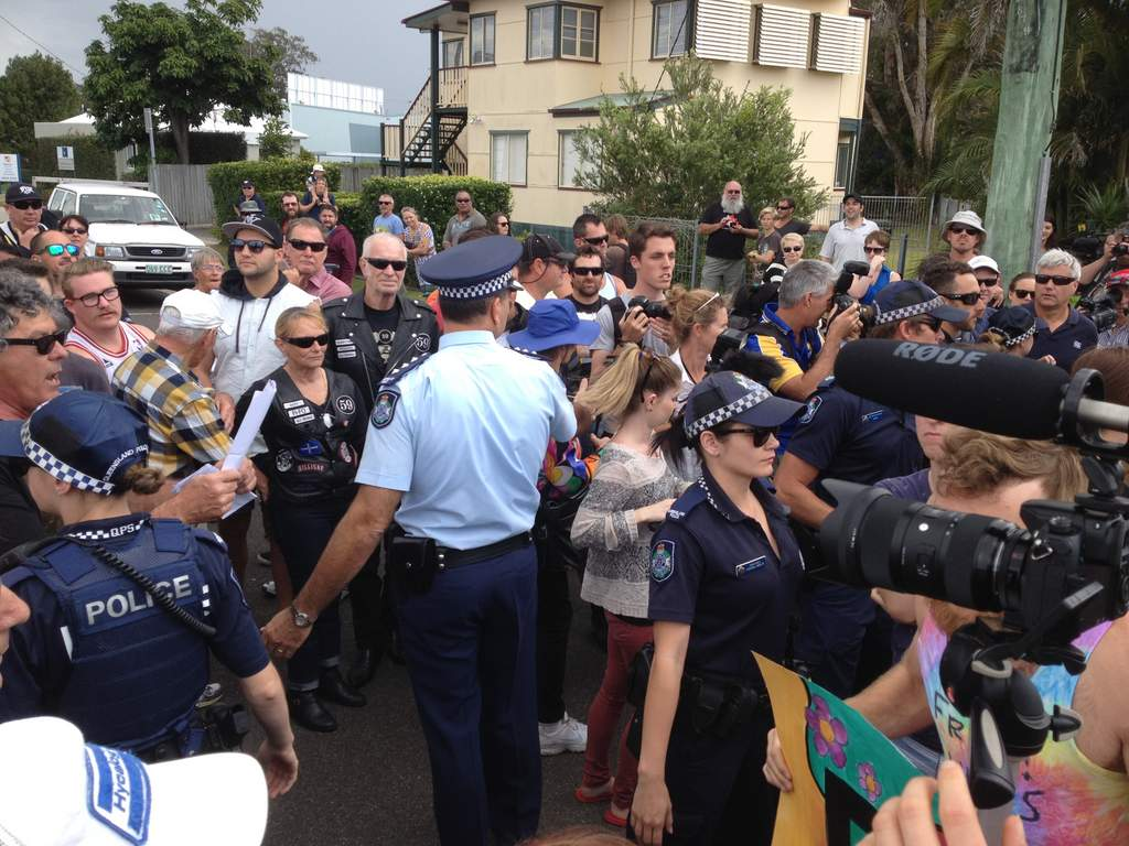 Scenes from the Maroochydore mosque protest last year.