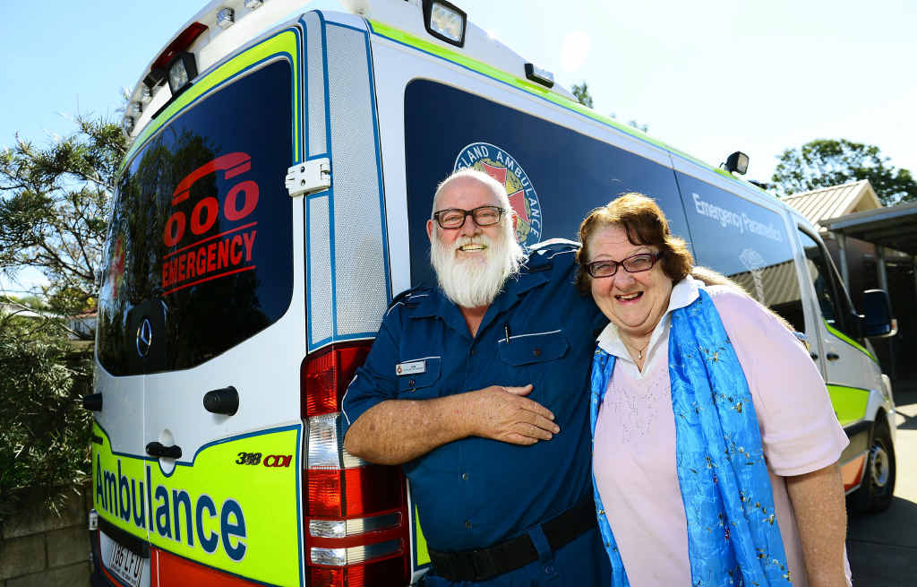 CLOCKING OFF: Ipswich Ambulance paramedic Bob Imhoff is retiring after 40 years on the job to the delight of his wife Pat.