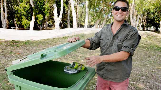 EASY THING: Peter Dew lifts the lid on rubbish at the Slade Point skate park where users are continually ignoring the bins and littering the area.