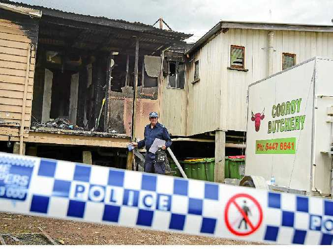 TOUCH AND GO: An early morning fire caused extensive damage to Cooroy Butchery but was stopped from spreading to neighbouring businesses.