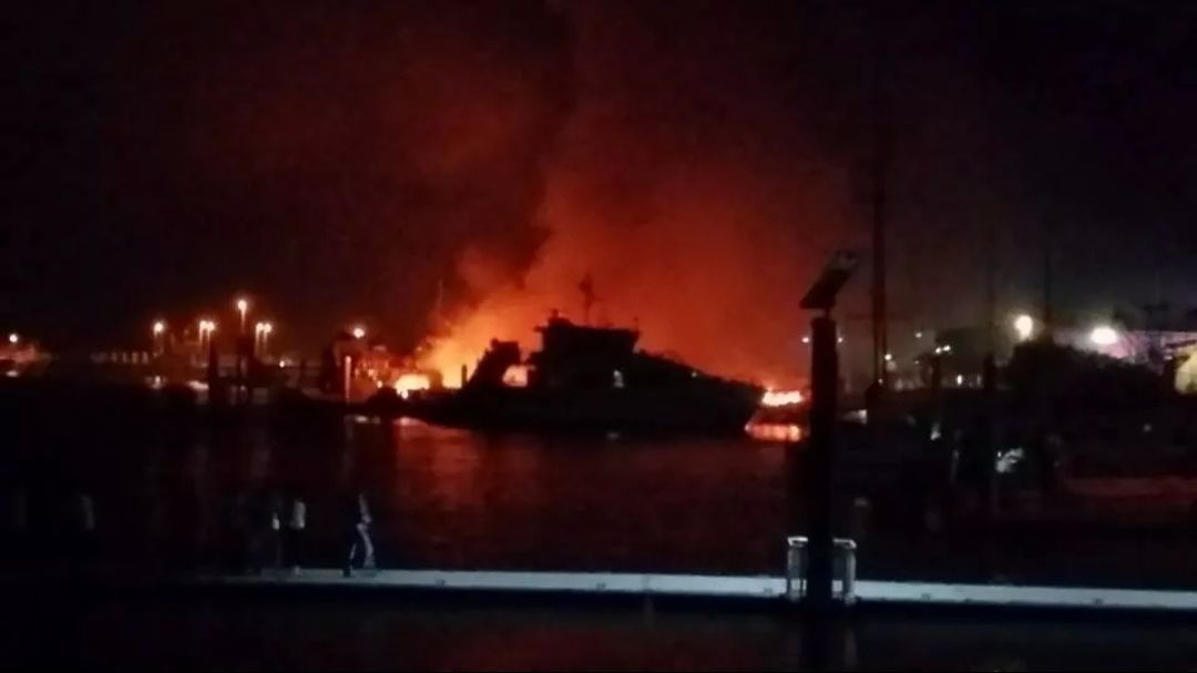 Police are investigating after a fire at Rosslyn Bay Harbour last night destroyed several boats. Photo Contributed