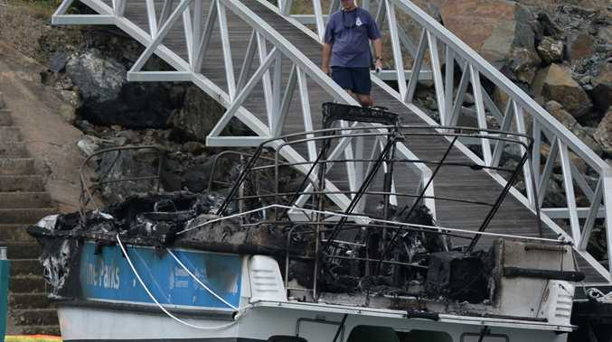 Vessels destroyed by fire at Rosslyn Bay Harbour. Photo Allan Reinikka / The Morning Bulletin