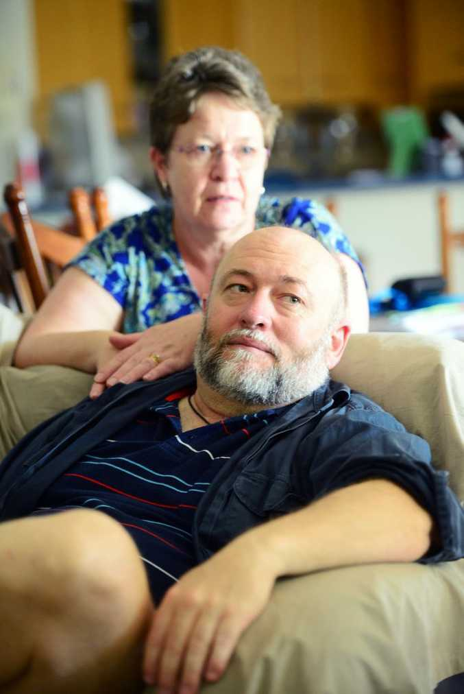 SNAKE BITE: Kalkie residents David and Annette Lawson have pulled through a harrowing ordeal after David was bitten by a brown snake and rushed to hospital. Photo: Max Fleet / NewsMail
