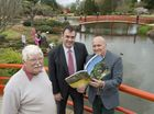 (From left) Dr Adrian Allen, Dr David Povey and John Elliott in the Japanese Garden. John Elliott is the author of a photographic book celebrating the 25th anniversary of Toowoomba's Japanese Garden.