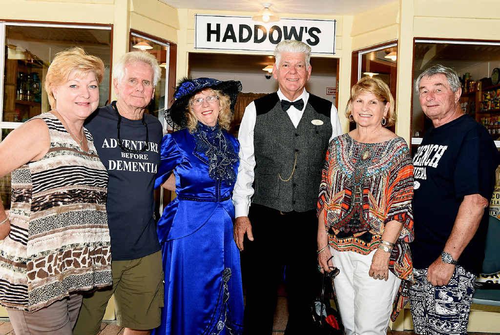Robbyn Thomas, Noel Haddow, Lynette and John Andersen, Glenda and David Brahman celebrate the Hervey Bay Historical Village and Museum's 40th birthday.