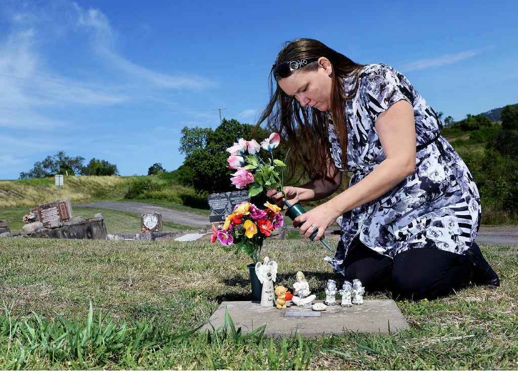 DEVASTATED MUM: Melanie Rogers is upset that the items she had left on the grave of her daughter, Brianna Mears, have been removed.