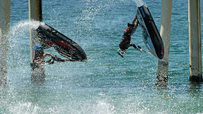 Jetskiers will try to pull off as a many tricks as possible this weekend in Ballina, including overhead summersaults and other aerial manoeuvres.
