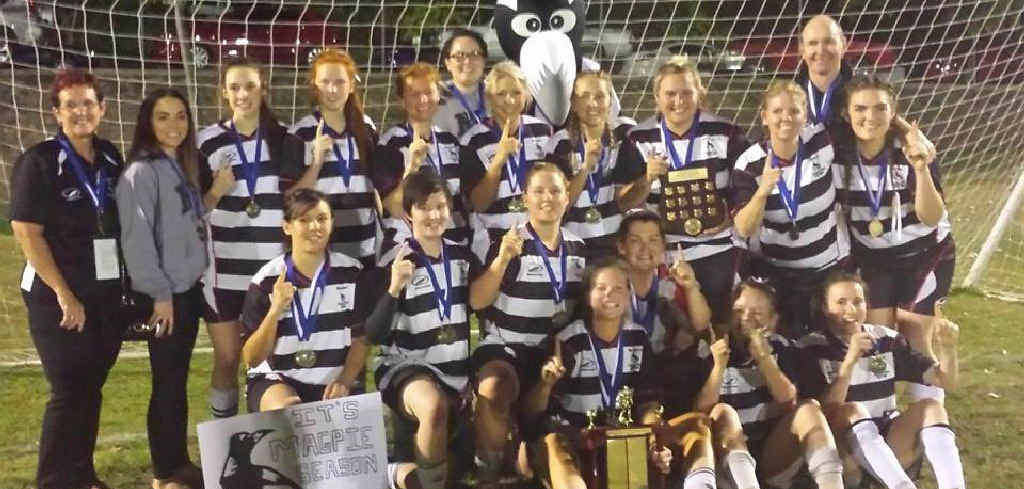 CHAMPIONS: (clockwise from above) Nerimbera Magpies Black celebrate after winning the 2014 Football Rockhampton women's grand final at Pilbeam Park on Friday night; star Vicki Edwards fires a pass, and captain Kajal Tighe traps the ball.