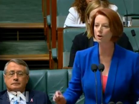 Prime Minister Julia Gillard during her famous 'misogyny' speech to Tony Abbott in Federal Parliament