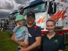 Casino truck show: Casino residents Noah, Dave and Kelly Schneider. Photo by Jamie Brown / the Northern Star