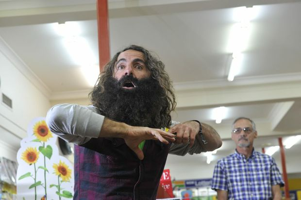Costa Georgiadis presents a talk about nature at Scott's Newsagents in Lismore.