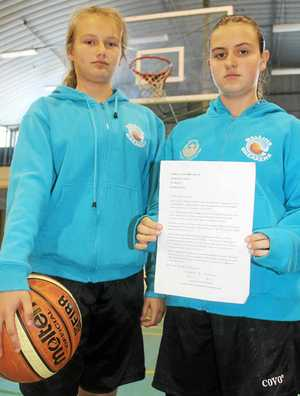 KIDS TAKE ACTION: Ballina Breakers junior basketballers Ellie Roberts and Sian McCowan have written to the council calling for an indoor sports stadium.