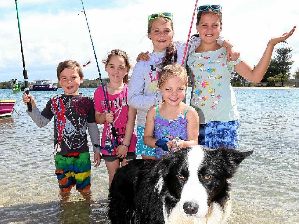 ISLAND FUN: Enjoying a day out fishing at Chambers Island (from left) are Mia Baxter with Kahn, Taj Baxter, Amity van Dorp, Kirra Reynolds and Teisha Baxter.