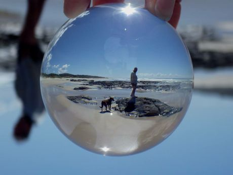 Angels Beach, Ballina, through a glass orb.