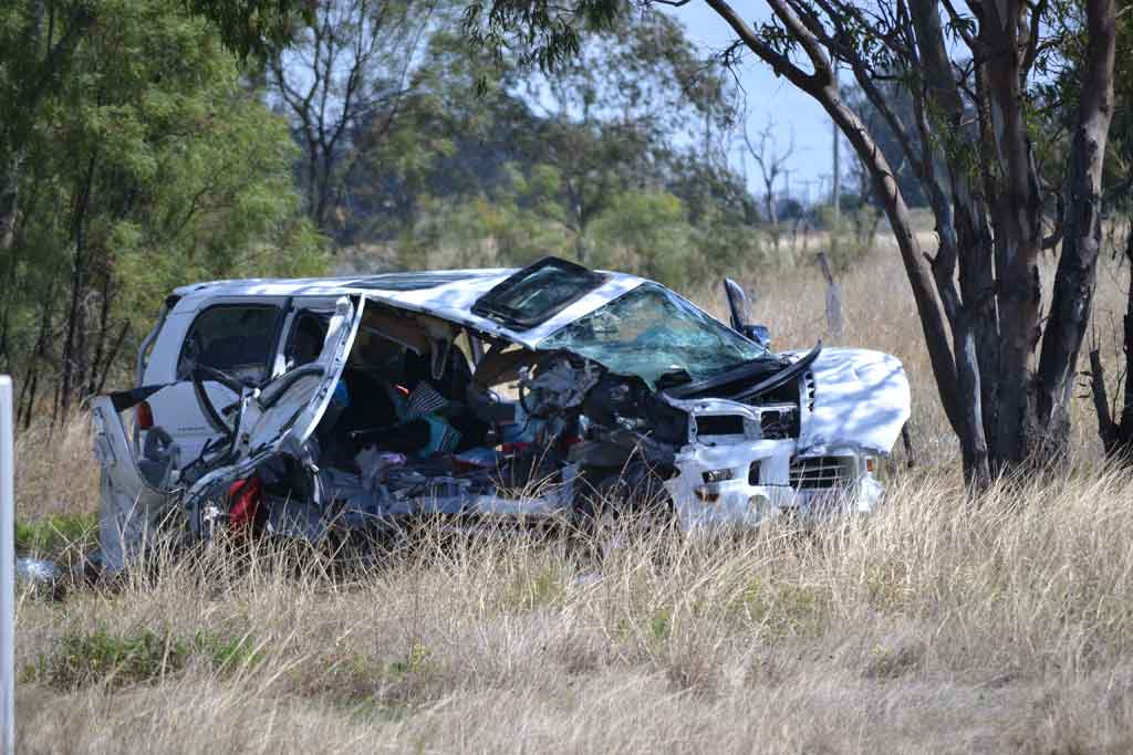 One of the vehicles involved in a fatal head-on traffic crash near Dalby.