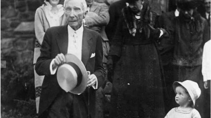 John D Rockefeller on his 84th birthday in 1923; his wealth came from oil (Getty)