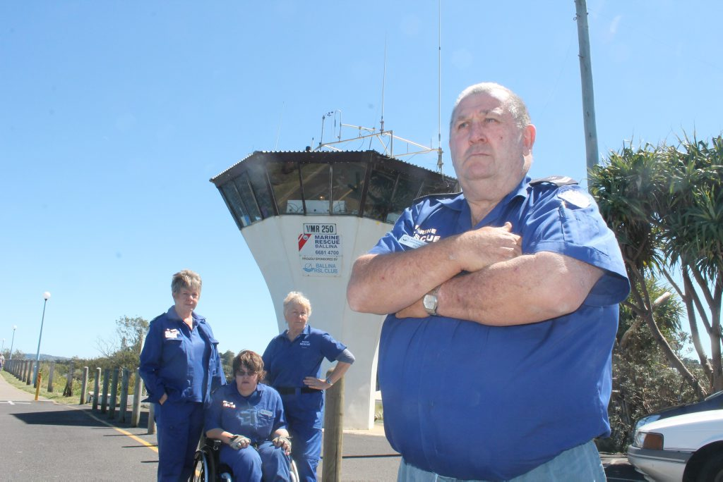 PUT UP THE CASH: Ballina's Marine Rescue unit has launched a petition calling for State and Federal governments to put up some money for a new tower on North Wall. Pictured are Commander John Donoghue with (back, from left) volunteers Joan Hurley, Catherine Ryan and Tanya Binning.