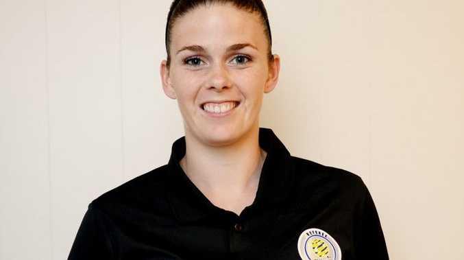 Soccer Ref Sarah Drake. Photo Allan Reinikka / The Morning Bulletin