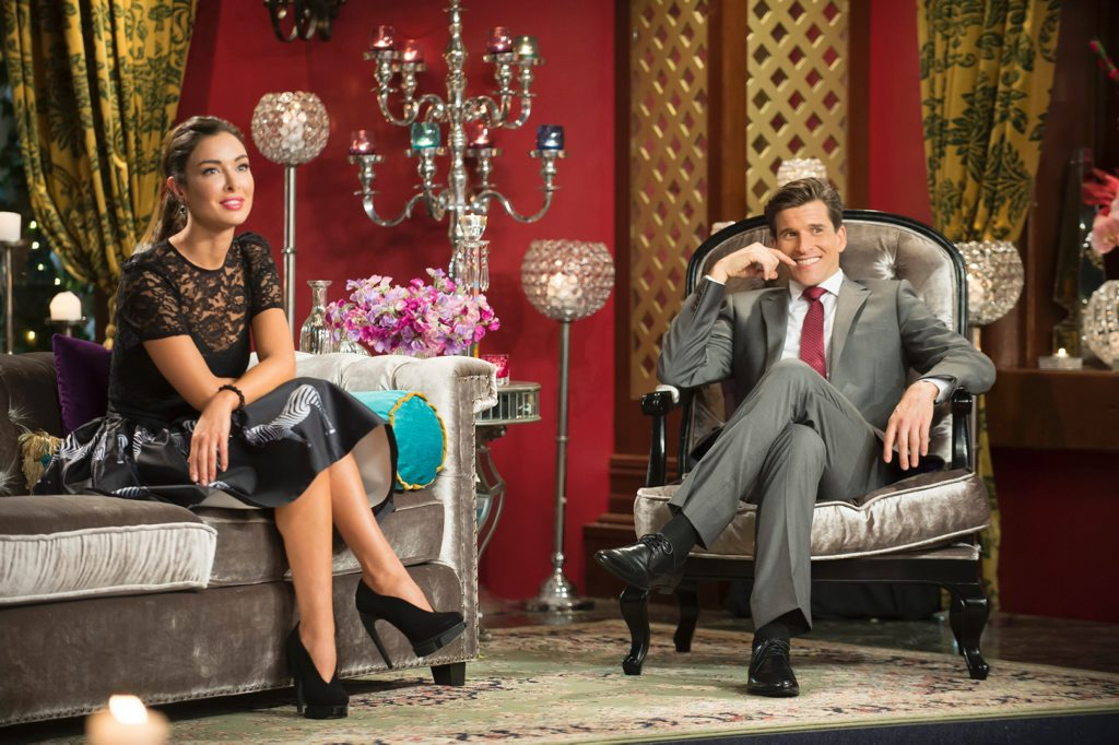 Laurina Fleure with host Osher Gunsberg in The Bachelor tell-all special.