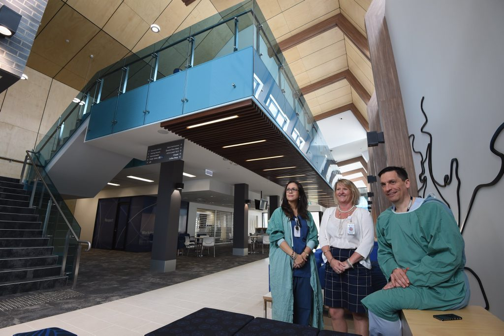 St Stephens Hospital is having an open day this weekend as Dr Monica Trujillo, Michelle Clunn and Dr Luis Prado give a preview of the foyer of the new hospital.