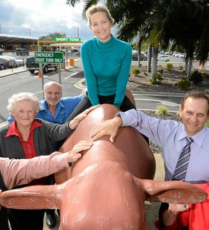 ROUGH RIDERS: Rockhampton Regional Councillors Rose Swadling, Greg Belz, Cherie Rutherford and Tony Williams say hands off our bulls after hearing Richmond Valley Council has offered to buy them.