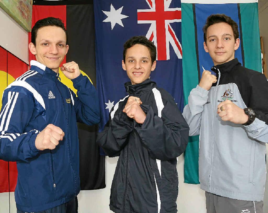 RAISING FUNDS: Stephen, John and Michael Kakakios have been selected to represent Australia at the sixth Commonwealth Taekwondo Championships in Edinburgh, Scotland.