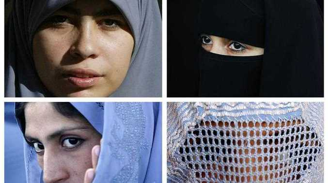 This combination of pictures shows Muslim women wearing various type of Islamic veils, a Hijab (top L), a Niqab (top R) a Tchador (down L) and a Burqa.