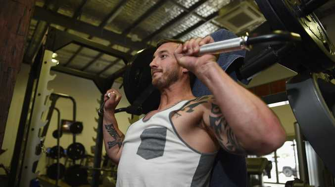 Joel McCrea working out at the new Lyfestyle 24 gym in Pialba.
