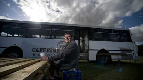 Sam Newton and his cafe bus.